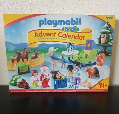 Playmobil 1.2.3 ADVENT CALENDAR Christmas in the Forest with Santa #9391 Sealed