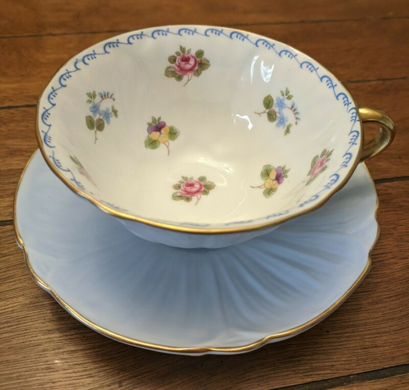 Shelley Oleander Light Blue Floral Cup & Saucer Roses Pansies Forget Me Nots