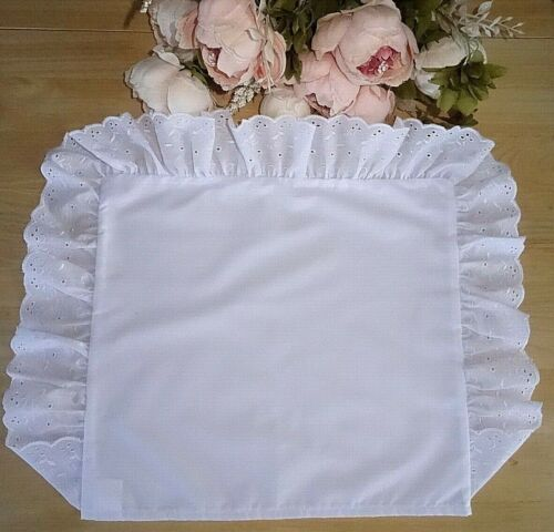 Plain White Cot/Pram/Bed Rectangular Pillow Case Broderie Anglaise Frill 40x35cm