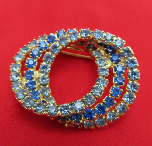 Vintage Rhinestone Brooch Pin Cobalt Baby Blue Faceted Crystal Gold Circles 634r