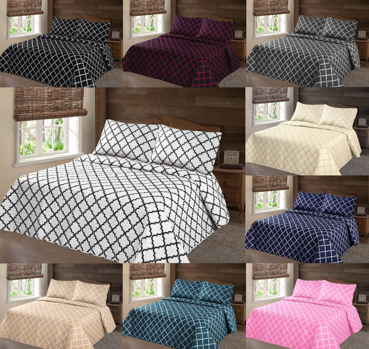 queen coverlet set  new pc nena bed bedspread quilt set  - bedspread sets king  pc lancaster geometric bed bedspread quilt set coverletmodern in  sizes