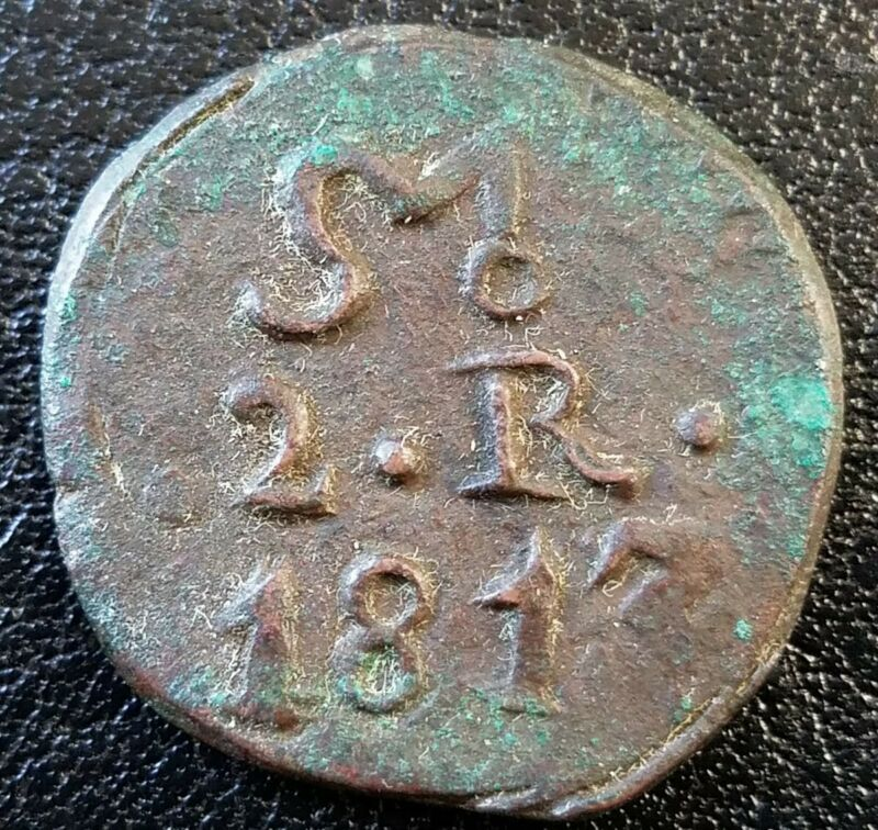 1813 Mexico War of Independence OAXACA SUD 2 Reale Morelos Copper World Coin AU