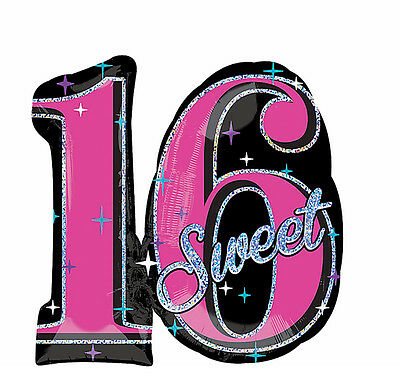Celebrate Sweet Sixteen 16th Birthday Foil Balloon Party Decoration Supplies 28