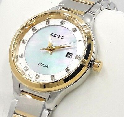 Seiko SUT318 Solar Two Tone Diamond Accent Mother of Pearl Dial Womens Watch NEW