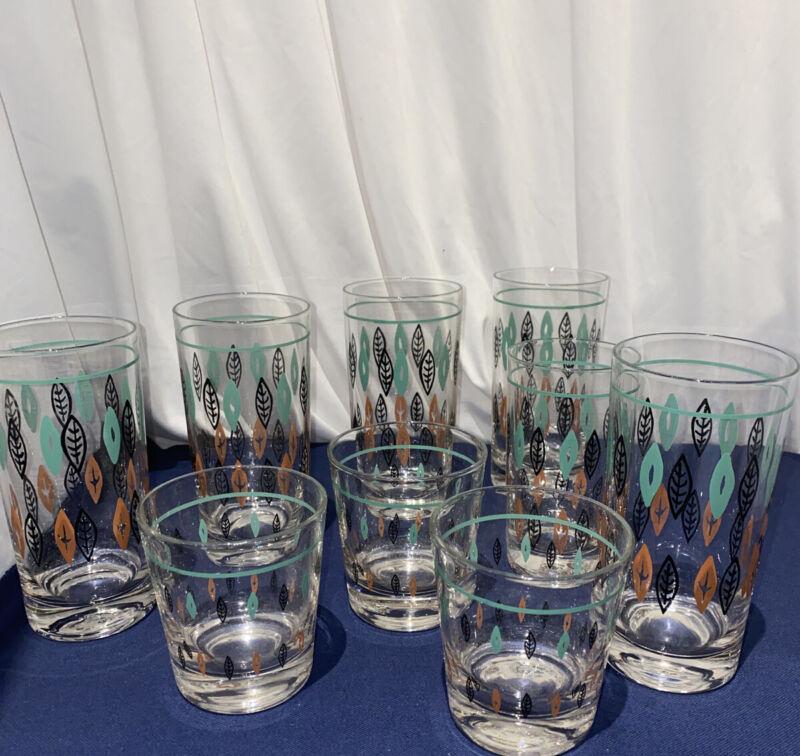 VTG ATOMIC MID CENTURY GLASSES BAR JUICE TURQUOISE EAMES