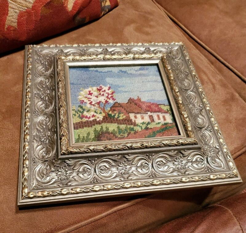 Vintage Needlepoint cottage home field sky trees Framed Pictures 11x11 wall hang