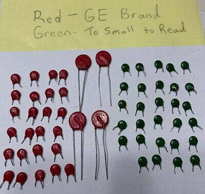 58 Vintage Ge Mov Metal Oxide Varistor Capacitor Red Green Lot