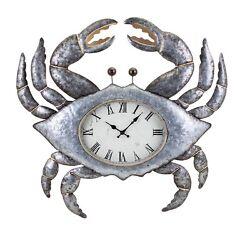 Nautical Beach Tropical  Sea Life Iron/Glass Large Crab Wall Clock ,26''H
