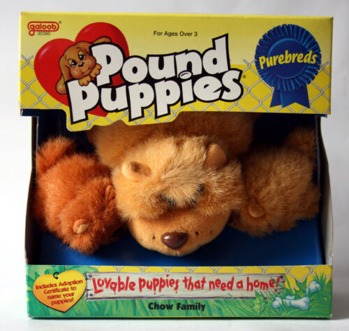 RARE VINTAGE 1996 POUND PUPPIES PUREBREDS CHOW FAMILY GALOOB NEW SEALED !