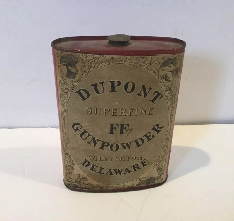 Antique 1910 Dupont Gunpowder 1lb Tin Wilmington Delaware Superfine Ff