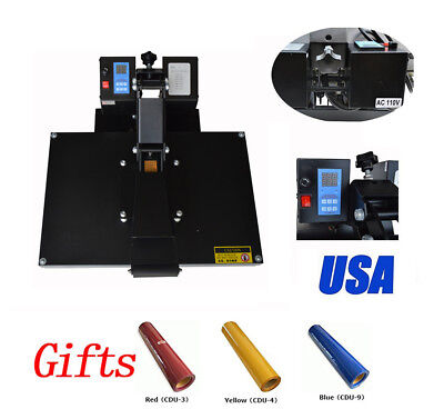 110v Digital Display 16x24flat Heat Press Machine 3colors T-shirts Vinyl Free