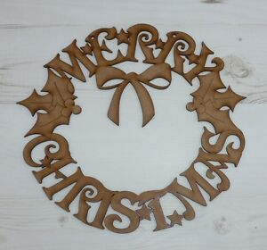 MDF Wooden MERRY CHRISTMAS WREATH door plaque wall art decoration tree