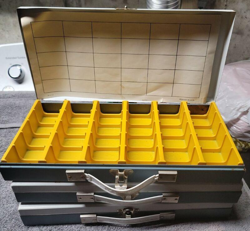 Lot Of 3 Vintage Metal Slide Cases -Smith & Victor And Nielsen Hardware 14.5 x 7