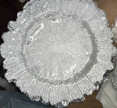 Silver Plate Chargers (2 Silver Glass Reef / Sponge Charger)