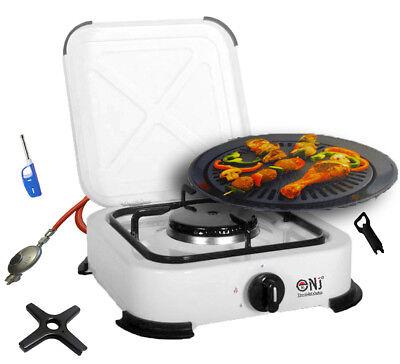 Gaskocher 1 flammig Campingkocher mit Deckel 2,2 KW + Grillplatte + Gasherdkreuz