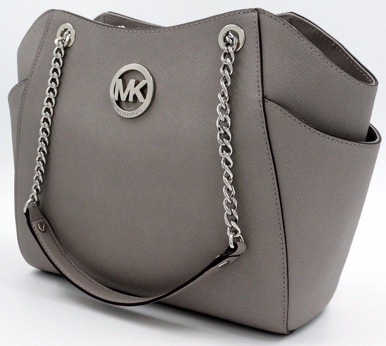 Michael Kors - NWT Michael Kors Grey  Saffiano Leather Jet Set Travel Chain Shoulder Tote Bag