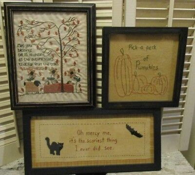Primitive Early Style 3 FALL HALLOWEEN Embroidery FRAMED STITCHERY Pumpkin CAT  (Halloween Stitchery)