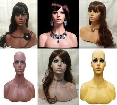Professional Fiberglass Female Display Head Mannequin With Shoulders Half Bust