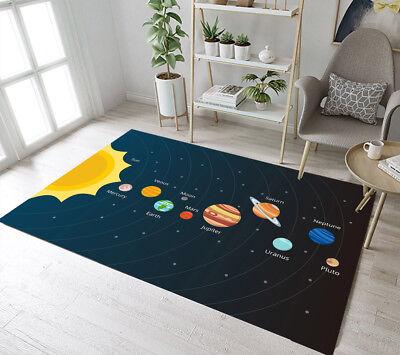 Solar System Galaxy Planets Pattern Area Rugs Bedroom Rug Living Room Floor Mat - Solar System Rug