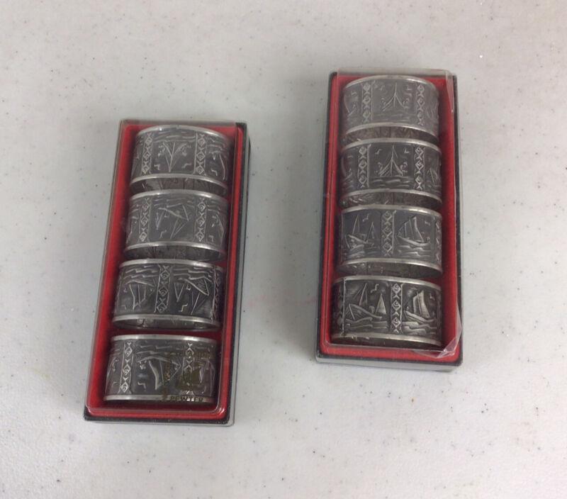 Norwegian Selandia Pewter Napkin Rings Set of 8