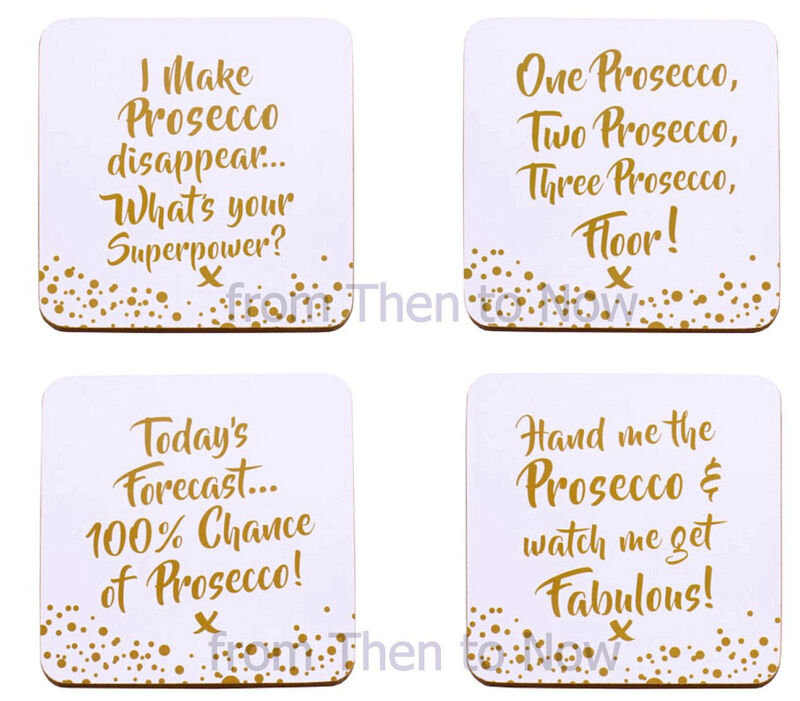 Set Of 4 Prosecco Coasters Drinks Mat Present Gift Funny Quote