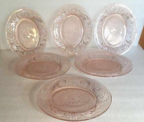 6 Pc LOT TIARA Sandwich Pattern Snack Plate PINK Depression Glass Set NOS