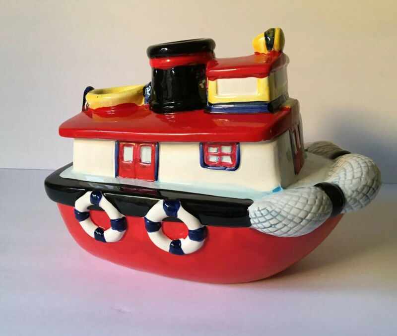 AMC NY Tugboat Cookie Jar - Makes Ocean Waves Sounds When Opened