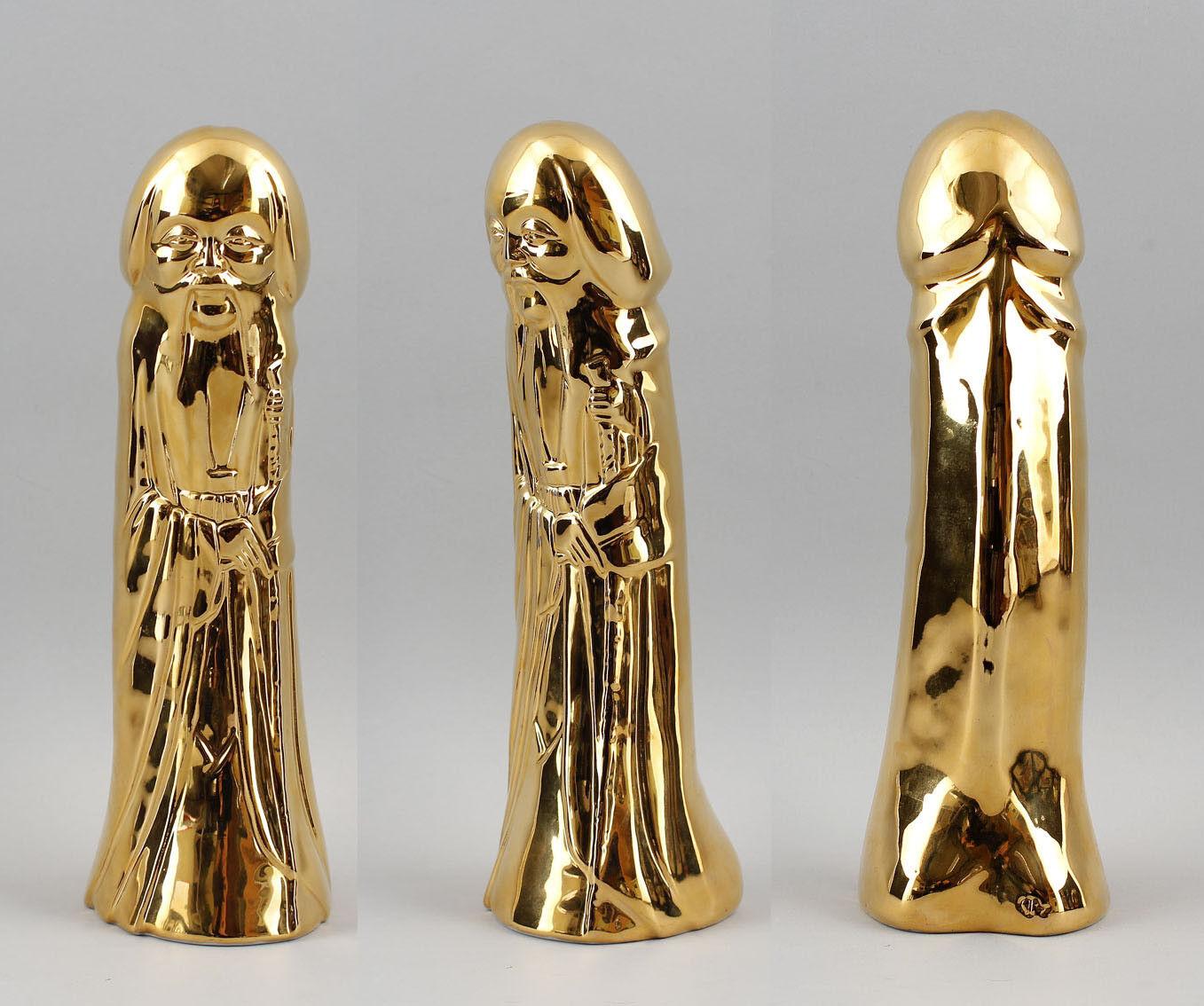 a3-44226  figurine golden phallus/Monk Kämmer-Porcelain H29cm