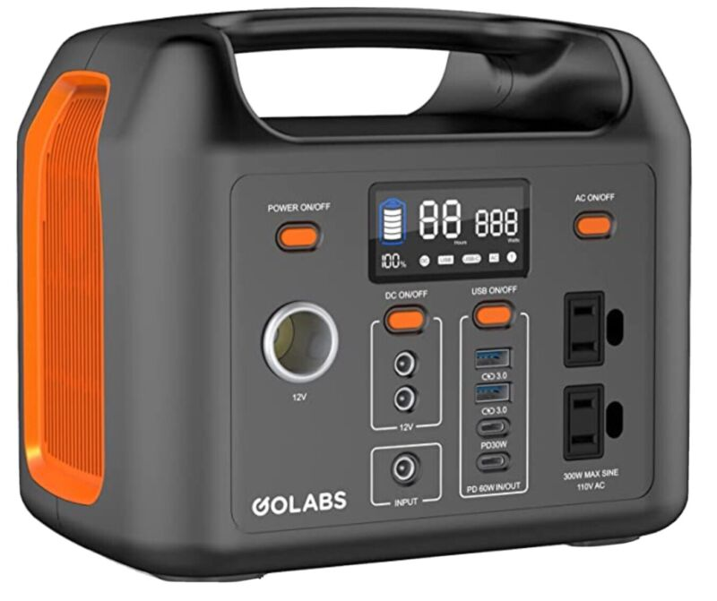 GOLABS Portable Power Station, 299Wh LiFePO4 Battery Backup