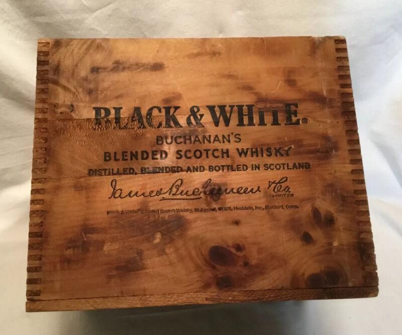 Vintage BLACK & WHITE SCOTCH Wood Advertising CRATE Storage Box
