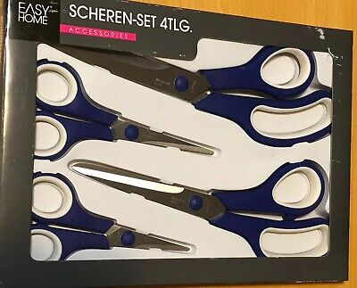 Scissors 4 Piece Stainless Steel Comfort Grip Multi Purpose Set Blue Austria 4 Piece Comfort Grip