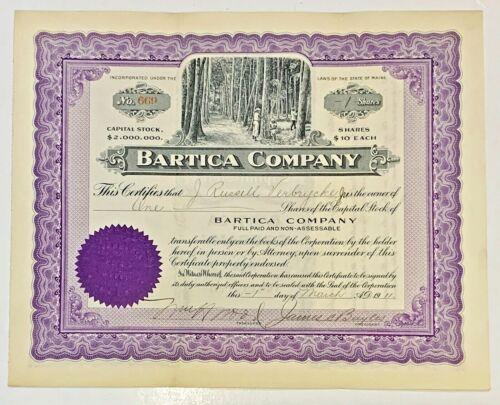 Bartica Company....1911 Common Stock Certificate   1 Share !