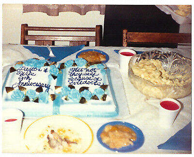Vintage 80s PHOTO Religious Theme Pastor & Wife Anniversary Cake & Food On Table (80s Themed Cakes)