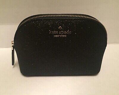 Kate Spade Small Dome Glitter Joeley Cosmetic Makeup Bag Black WLRU5759 $69