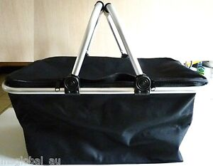 Folding-cooler-bag-shopping-picnic-basket-Black