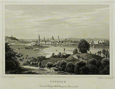 POTSDAM - Gesamtansicht - Johann Poppel - Stahlstich 1852