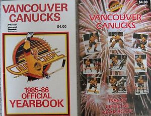 Vancouver-Canucks-NHL-yearbooks-media-guides-autographs-Smyl-Gradin-Neely
