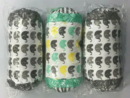 Bacati Elephant White/Gray Neckroll Pillows 3 Count NEW BJ
