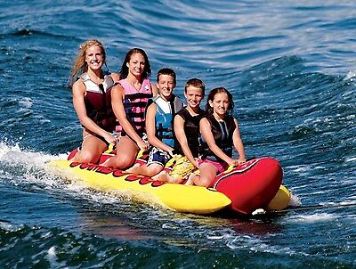 Inflatable 5 Person Towable Water Tubes Ski Flotation Tube Banana Boat Towables