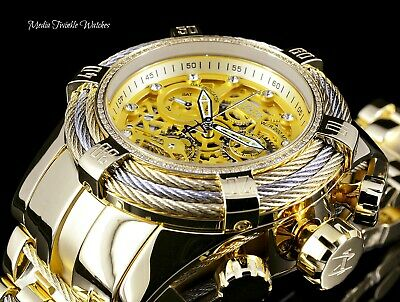 Invicta Reserve 52mm Bolt Zeus Tri-Cable Swiss 0.33ctw Diamond Bezel Gold Watch
