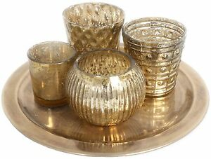 Set Of 4 Crackle Gold Tealight Holders With Gold Effecttray