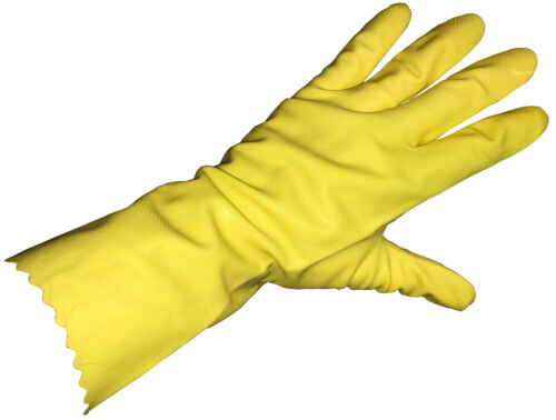 Yellow Flock Lined Latex household Gloves 18 Mil Textured Extra Large Case