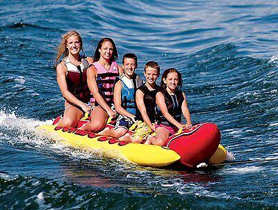 Inflatable Banana Boat Ride Towable 5 Person Jumbo Dog Tube Boat Water Float New - Jumbo Dog Towable