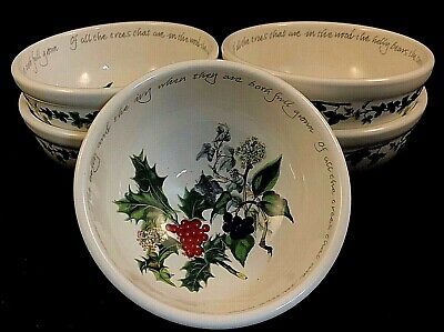 """PORTMEIRION THE HOLLY AND THE IVY SALAD BOWLS FIVE (5) 5-3/8"""" Discontinued"""