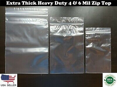 Clear Zip Top Heavy-duty 4-mil 6-mil Reclosable Plastic Zipper Lock Seal Bags