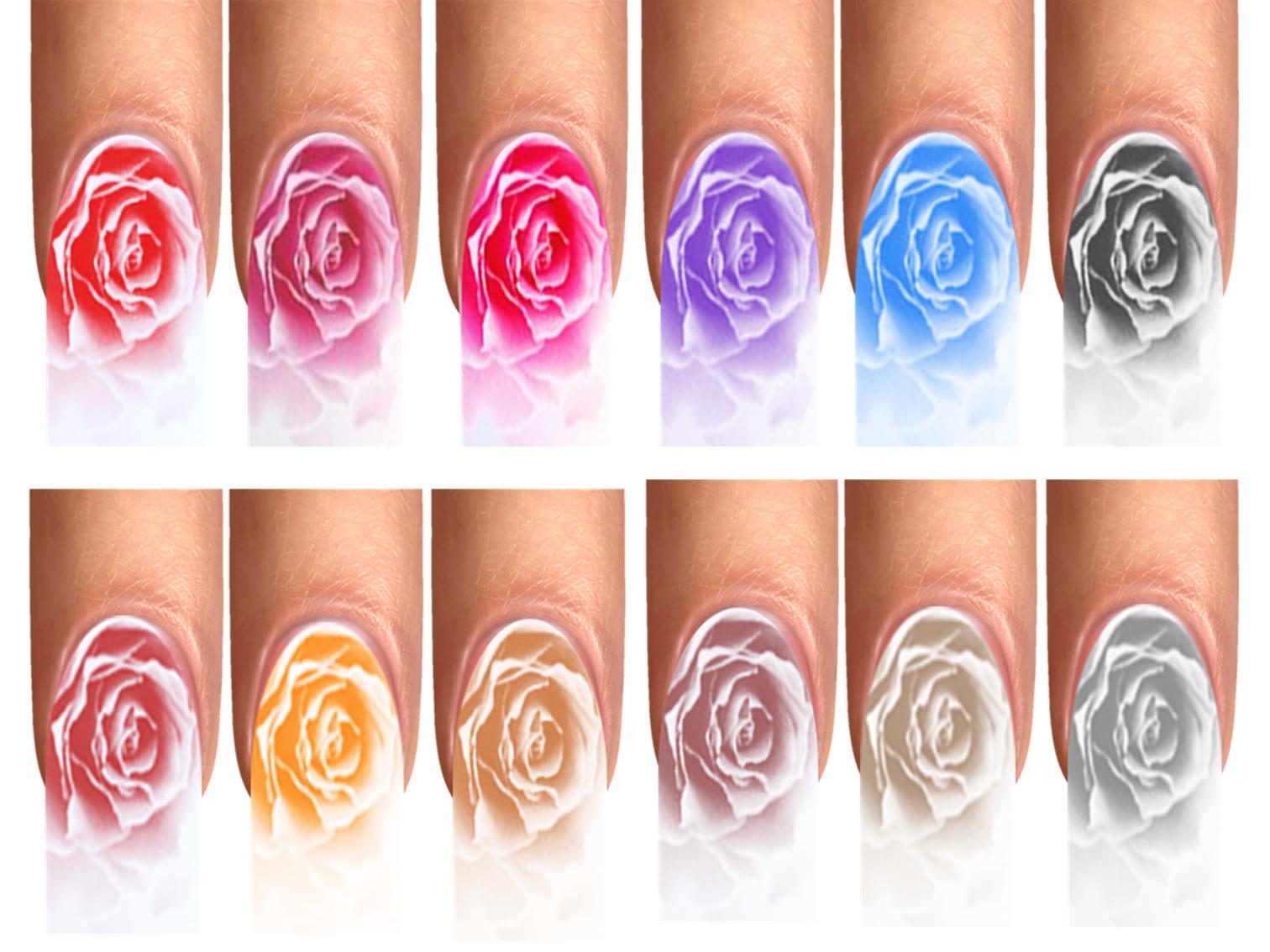 Wraps Nail Art Tattoos Fullcover Flower Style Blüte Blumen Rosen Rot Pink XS-XL