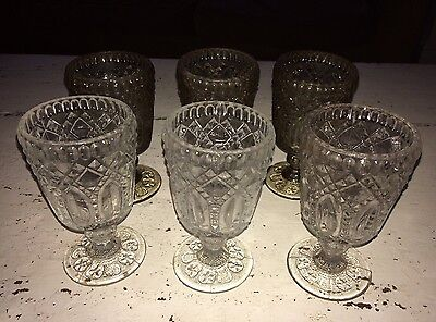 LOVELY SET OF ANTIQUE VICTORIAN PRESSED WINE GLASSES