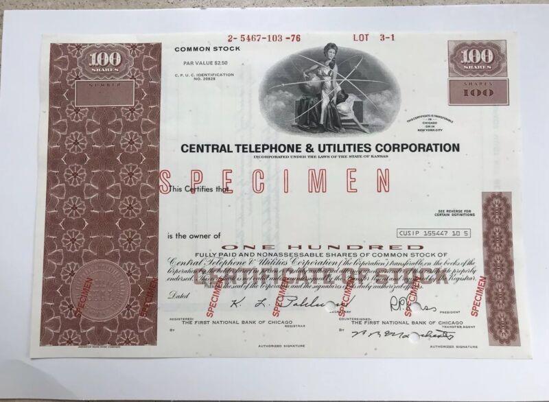 "Central Telephone & Utilities Corporation ABN ""Specimen"" Stock Certificate"