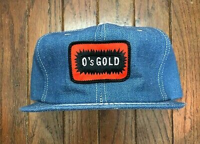 Vintage O's Gold Denim Trucker Hat Snapback Hat Baseball Cap USA Made Patch