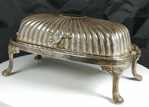 Vtg Silver-plated Footed Butter Dish Victorian Swivel Lid Glass Insert Rectangle